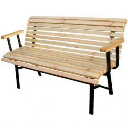 Диван парковый с деревянными подлокотниками
